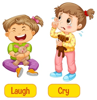 Parole di aggettivi opposti con risate e pianti