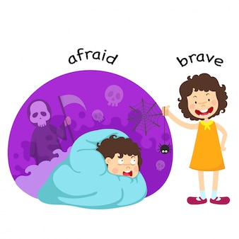 Opposite afraid and brave illustration