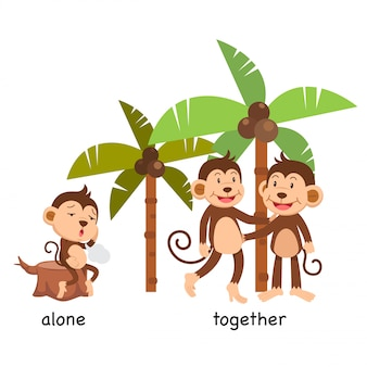 Opposite alone and together  illustration
