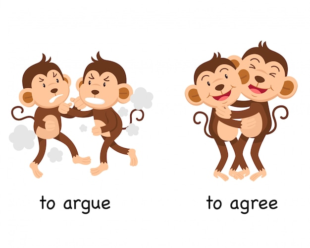 Opposite to argue and to agree  illustration