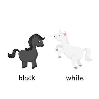 Opposite black and white vector illustration