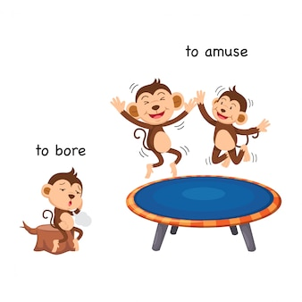 Opposite to bore and to amuse vector illustration