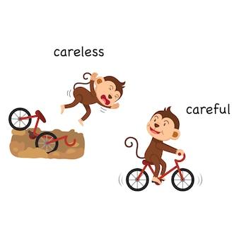 Opposite careless and careful vector illustration