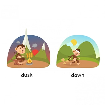 Opposite dusk and dawn vector illustration
