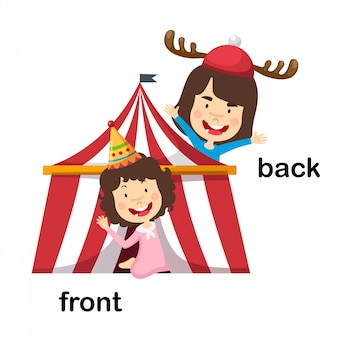 Opposite front and back vector illustration