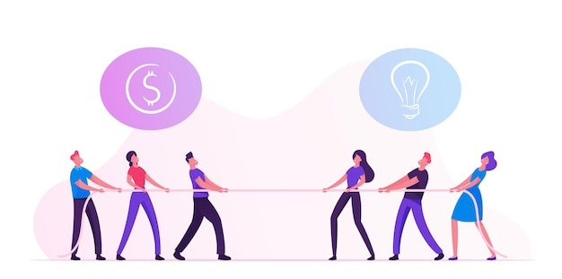 Opposite groups of businesspeople tug of war process. cartoon flat illustration