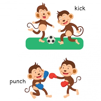Opposite kick and punch illustration