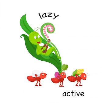 Opposite lazy and active vector illustration