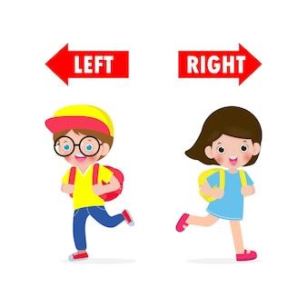 왼쪽과 오른쪽 반대, 왼쪽은 소녀, 오른쪽은 소년