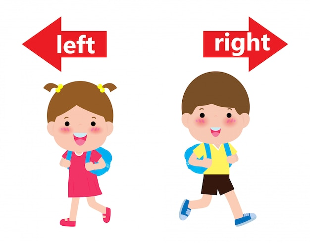 Opposite left and right, girl on the left and boy on the right