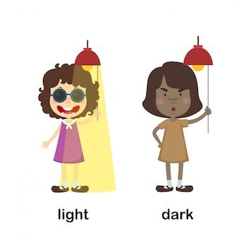Opposite light and dark vector illustration