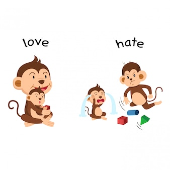 Opposite love and hate vector illustration