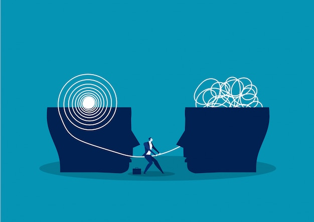 The opposite mindset chaos and order in thoughts concept. vector illustration