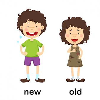 Opposite new and old vector illustration