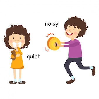 Opposite quiet and noisy vector illustration