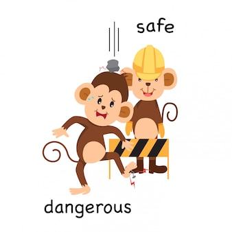 安全かつ危険なイラストの反対