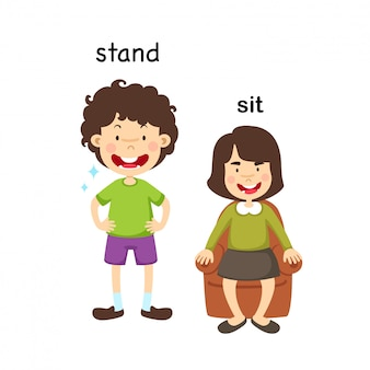 Opposite stand and sit vector illustration