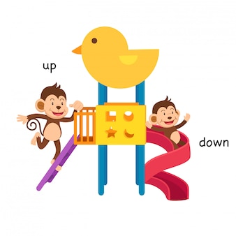 Opposite up and down illustration