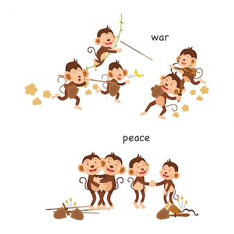反対の戦争と平和のベクトル図