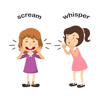 Opposite whisper and scream