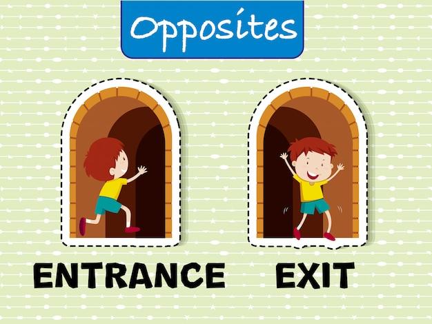 入口と出口の反対のワードカード