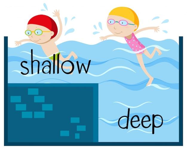 浅く深いための反対のワードカード