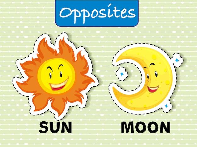 太陽と月の反対のワードカード