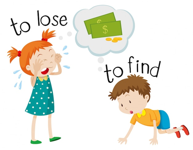 Opposite wordcard for lose and find