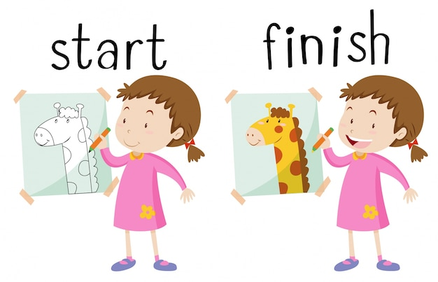 Opposite wordcard for start and finish