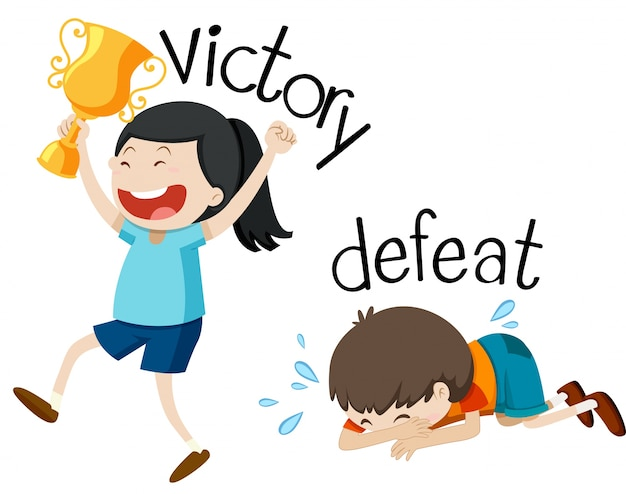 Opposite wordcard for victory and defeat