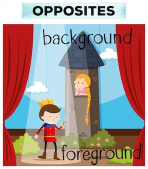 Opposite words for background and foreground