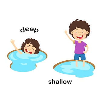 Opposite words deep and shallow