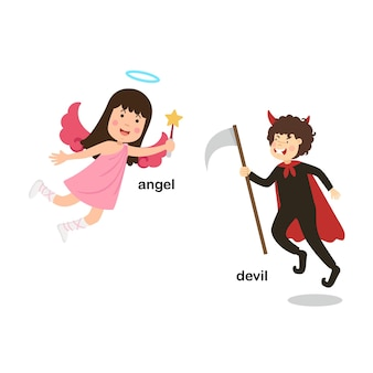 Opposite words devil and angel