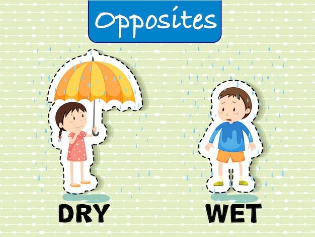Opposite words for dry and wet