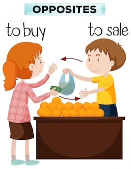 Opposite words for buy and sale