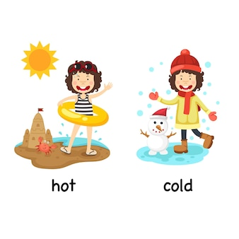 Opposite words hot and cold with a girl