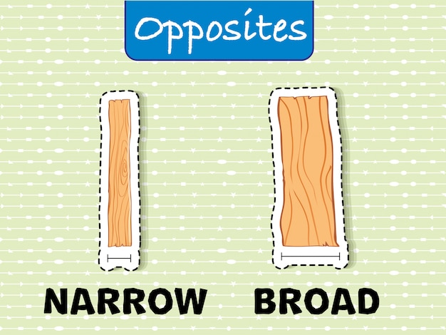 Opposite words for narrow and broad
