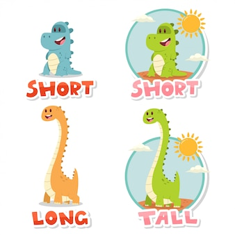 Opposite words short and tall, long.   cartoon illustration with cute big and small dinosaurs isolated on white background.