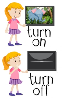 Opposite words for turn on and turn off