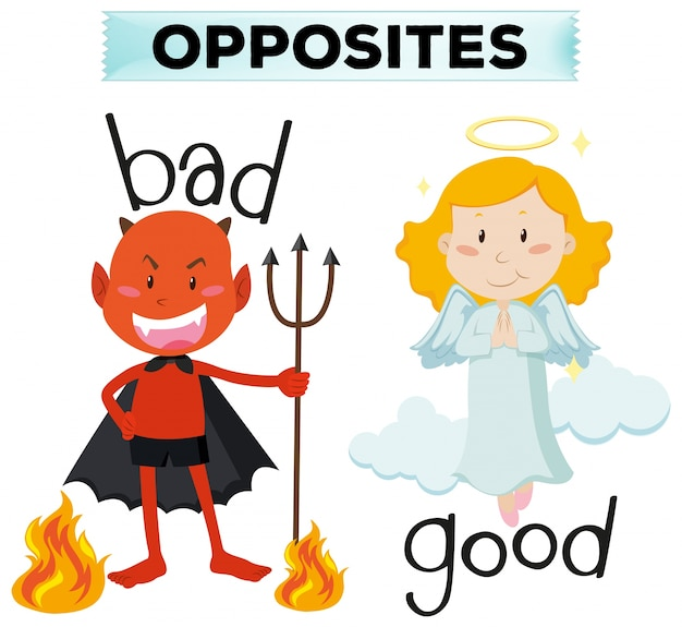 Opposite words with bad and good illustration
