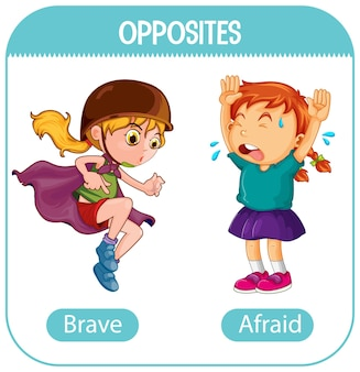 Opposite words with brave and afraid