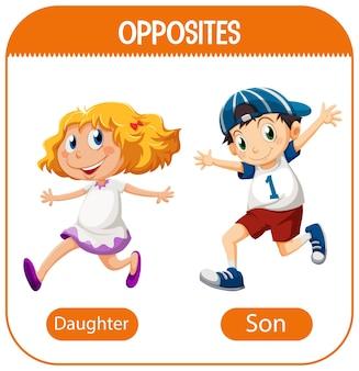 Parole opposte con figlia e figlio