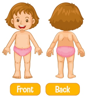 Opposite words with front and back of little girl