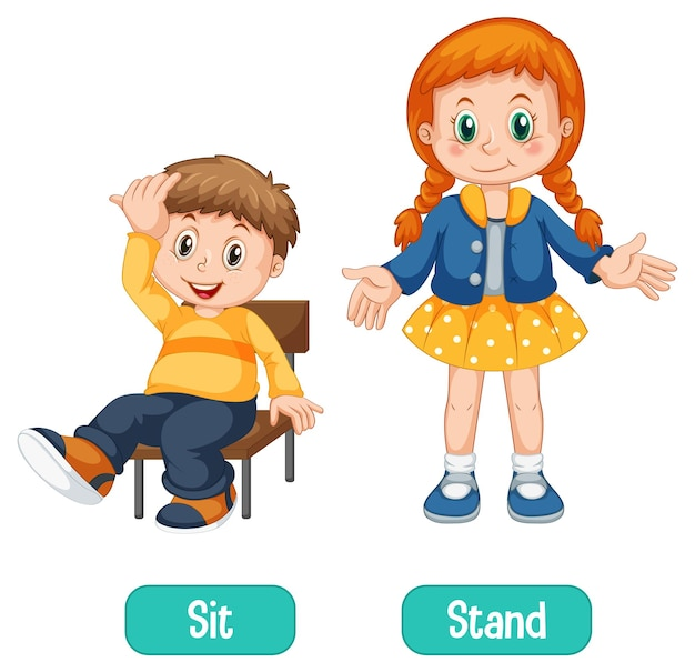 Opposite words with sit and stand