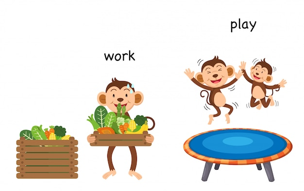 Opposite work and play  illustration