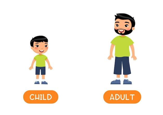 Opposites age concept adult and child
