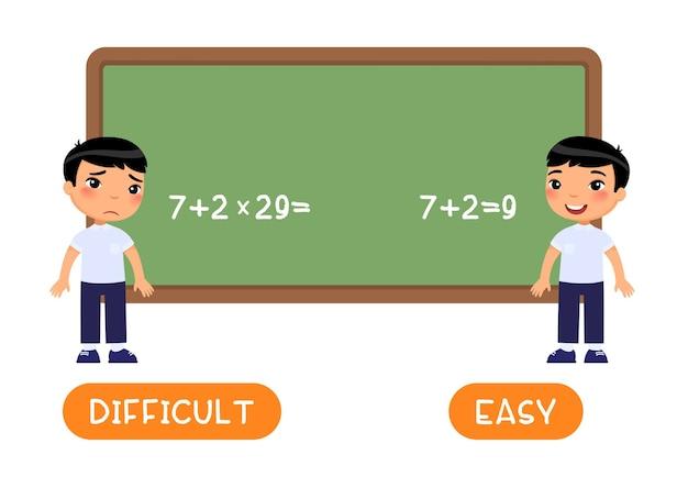 Di fronte al concetto facile e difficile parola con piccolo modello di scolaro asiatico
