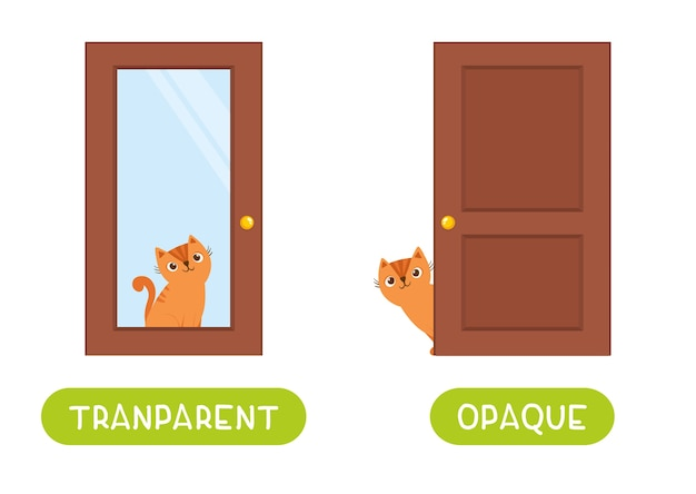 Opposites concept, opaque and transparent. word card for language learning. cute cat sits behind a glass door and behind a wooden door. flashcard  template with antonyms for children.