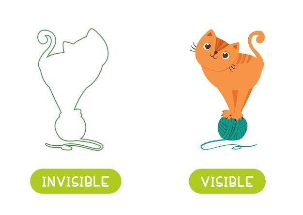 Концепция противоположностей, видимого и невидимого. карточка слов для изучения языка. кот стоит на клубке пряжи и силуэт этого кота. карточка с антонимами для детей вектор шаблон.