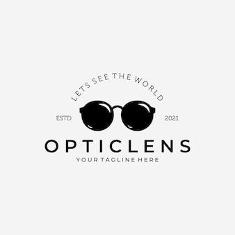 光学レンズのロゴのベクトルのデザインヴィンテージイラスト、眼鏡のロゴ、眼鏡のベクトル、世界を見てみましょう、クリアシーイング、眼鏡のイラスト